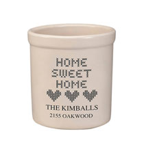 Decorative Accents - Personalized Home Sweet Home Stoneware Crock, 2 Qt.