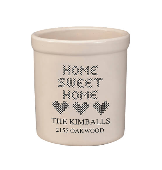 Personalized Home Sweet Home Stoneware Crock, 2 Qt.