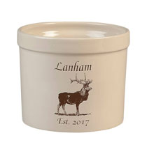 Decorative Accents - Personalized Elk Stoneware Crock, 3 Qt.