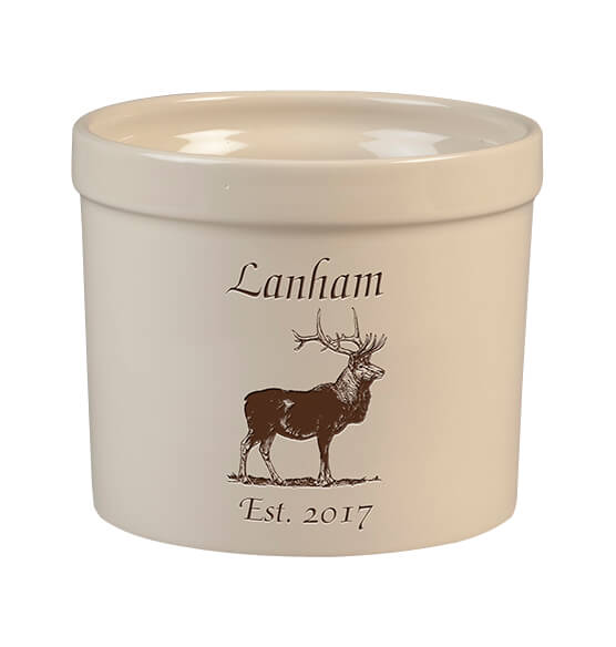 Personalized Elk Stoneware Crock, 3 Qt. - View 1