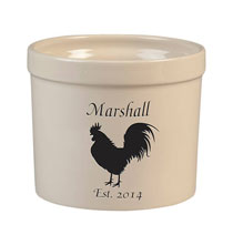 Decorative Accents - Personalized Rooster Stoneware Crock, 3 Qt.