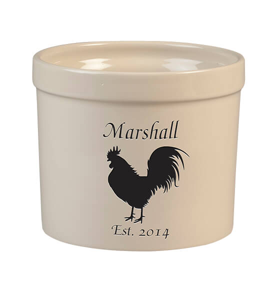 Personalized Rooster Stoneware Crock, 3 Qt.