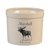 Personalized Tabletop - Personalized Moose Stoneware Crock, 3 Qt.