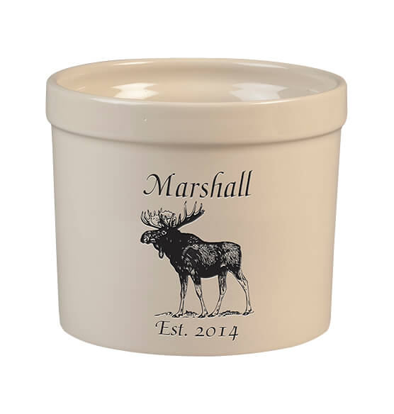 Personalized Moose Stoneware Crock, 3 Qt.