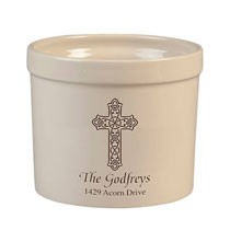 Personalized Celtic Cross Stoneware Crock, 3 Qt.