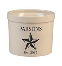 Decorative Accents - Personalized Barn Star Stoneware Crock, 3 Qt.