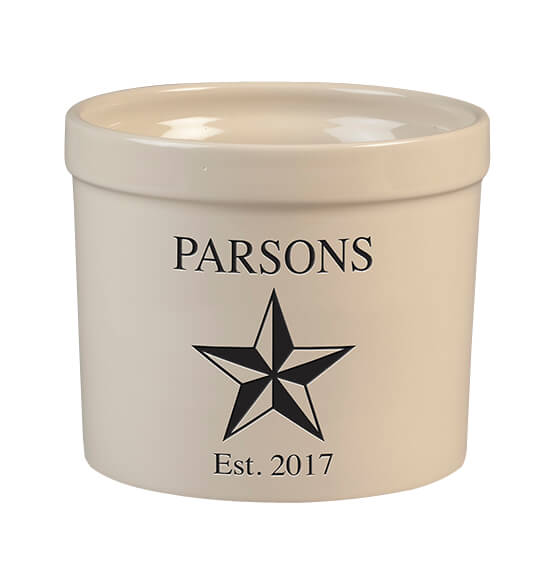 Personalized Barn Star Stoneware Crock, 3 Qt.