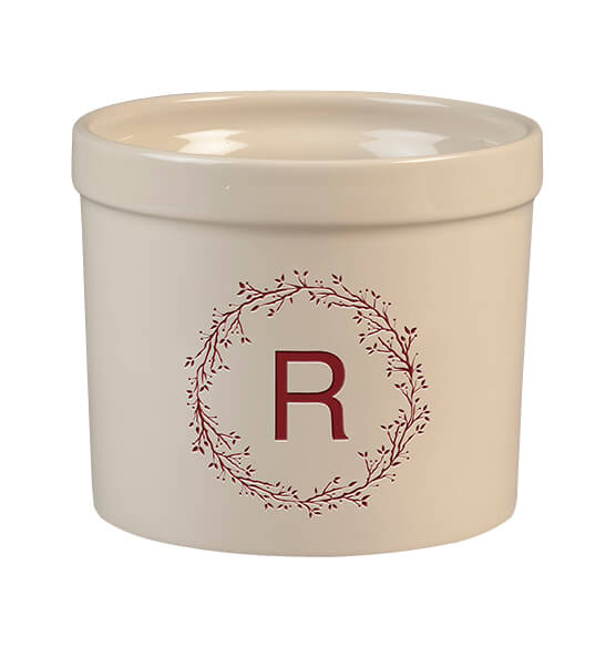 Personalized Monogram Wreath Stoneware Crock, 3 Qt.
