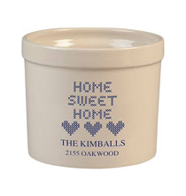 Crocks - Personalized Home Sweet Home Stoneware Crock, 3 Qt.