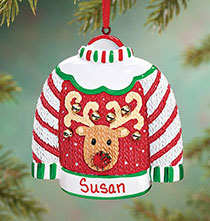 Personalized Ugly Sweater Ornament   Plain