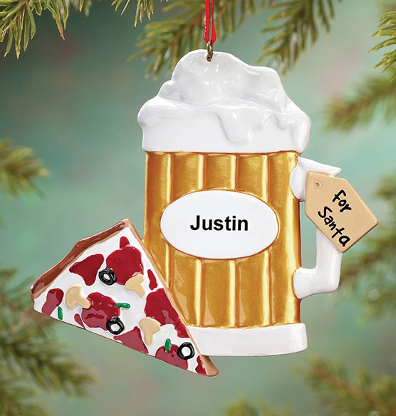 Personalized Beer for Santa Ornament