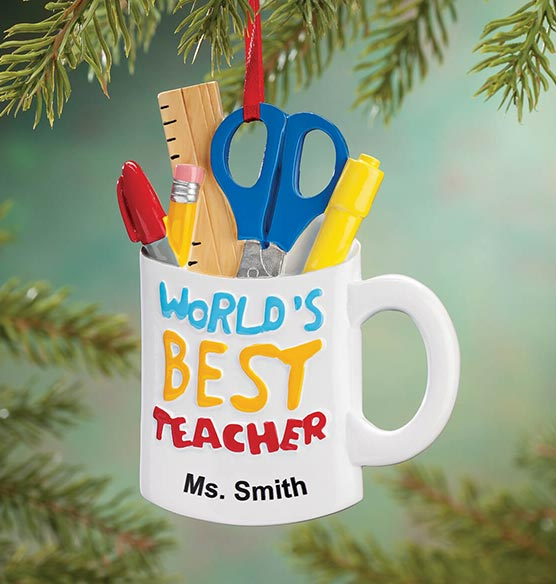 "Personalized ""World's Best Teacher"" Ornament"