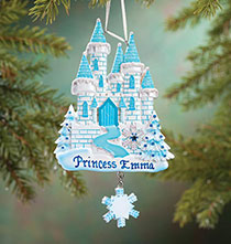 Personalized Blue Princess Castle Ornament   Plain