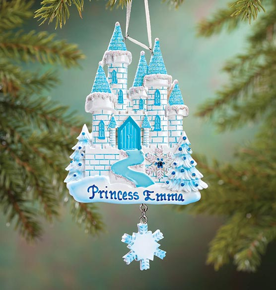 Personalized Blue Castle Ornament