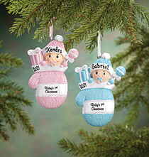 Personalized Baby's First Christmas Mitten Ornament   Plain Blue
