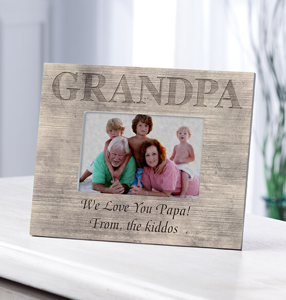 Personalized Photo Frame for Grandpa – Shiplap Frame