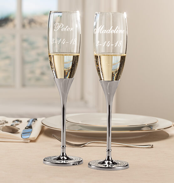 Personalized Brilliance Toasting Flute Set