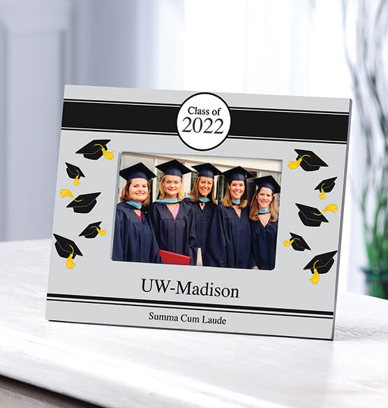 Personalized Tossed Cap Graduation Frame - View 1