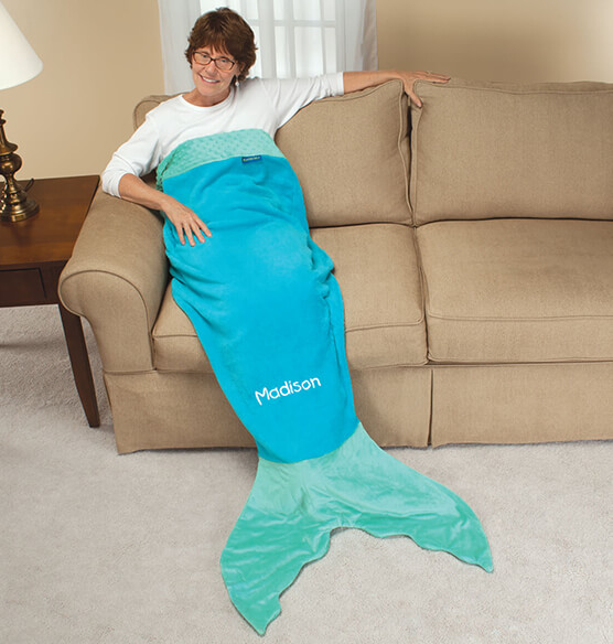 Personalized Adult Aqua Mermaid Tail Blanket