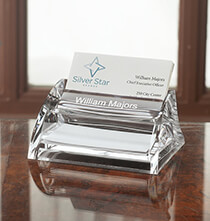 Desktop & Office - Personalized Clearylic Business Card Holder with Pad