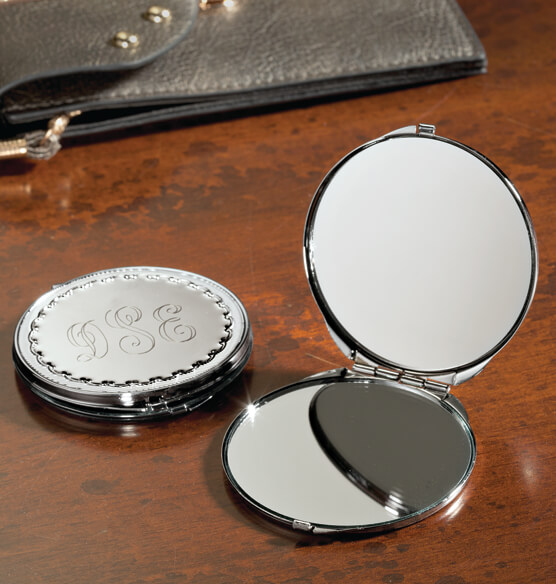 Personalized Round Compact with Dual Mirrors