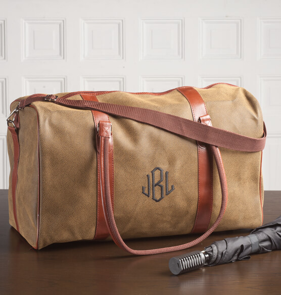 Personalized Leather Duffle Bag