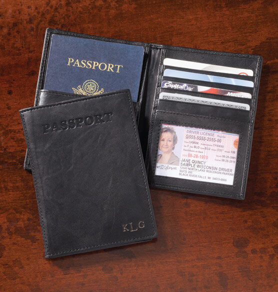 Personalized Leather RFID Passport Wallet - View 1