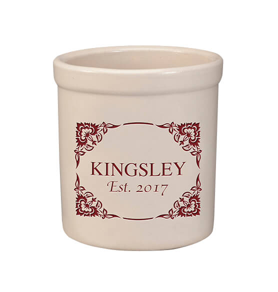 Personalized Flourish Corner Crock, 2 qt.