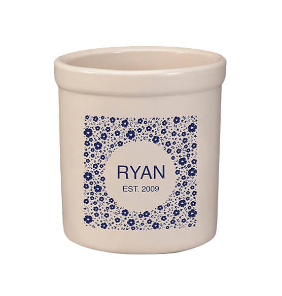 Personalized Tiny Flowers Crock, 2 qt.