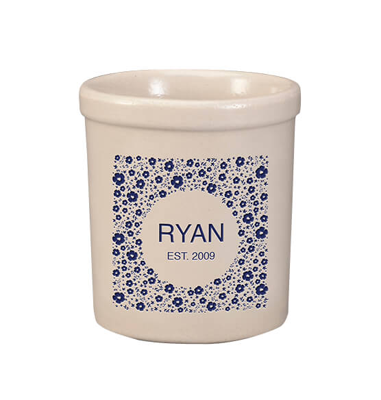 Personalized Tiny Flowers Crock, 1 qt.