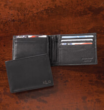 Gifts for Him - Personalized Leather Bifold Black Wallet
