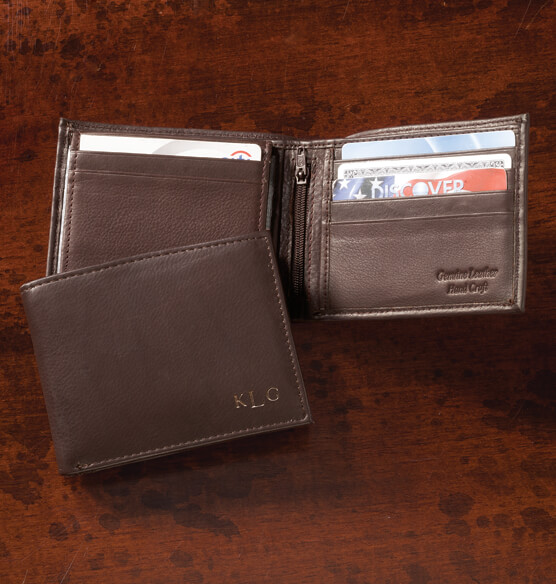 Personalized Leather Bifold Brown Wallet - View 1