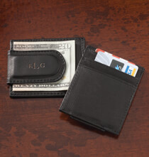 Accessories for Him - Personalized Black Leather Money Clip/Card Holder