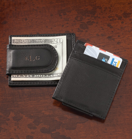 Personalized Black Leather Money Clip/Card Holder