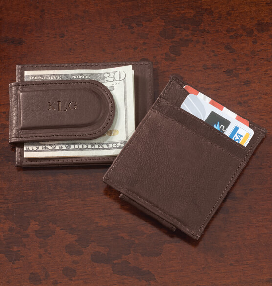 Personalized Brown Leather Money Clip/Card Holder