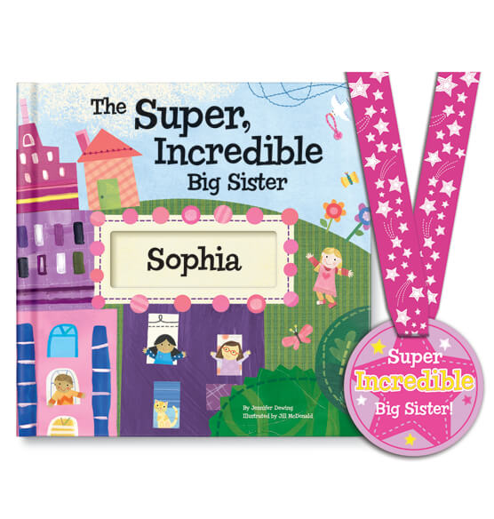 Personalized The Super, Incredible Big Sister Book & Medal Storybook