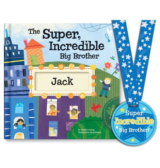 Personalized The Super, Incredible Big Brother Book & Medal Storybook - View 1