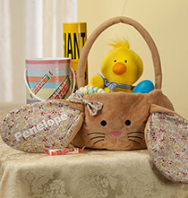 Personalized Brown Bunny Floral Easter Basket