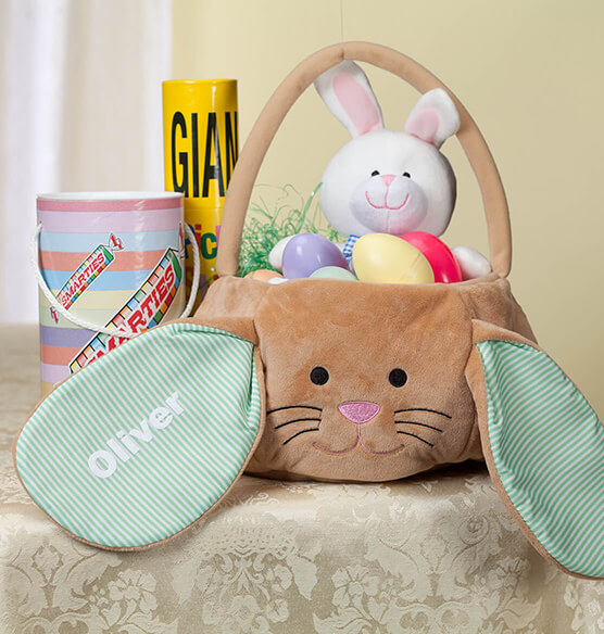 Personalized Brown Bunny Pin Stripe Easter Basket