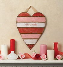 Outdoor Plaques & Decor - Personalized Wooden Heart Plaque