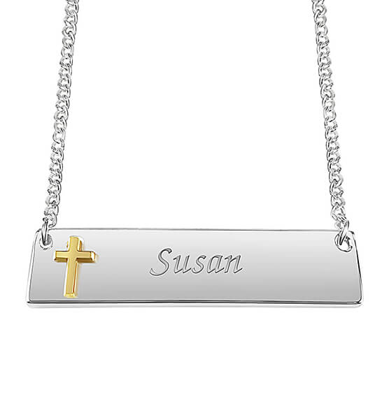 Personalized Horizontal Bar Necklace with Cross
