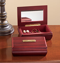 Anniversary Gifts - Personalized Jewelry Box with Brass Plate