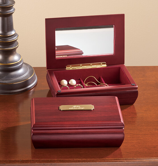 Personalized Jewelry Box with Brass Plate