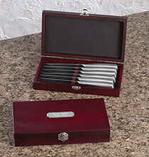 Personalized Steak Knife Set of 6 with Brushed Nickel Plate