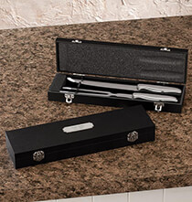 Personalized Carving Set in Black with Brushed Nickel Plate