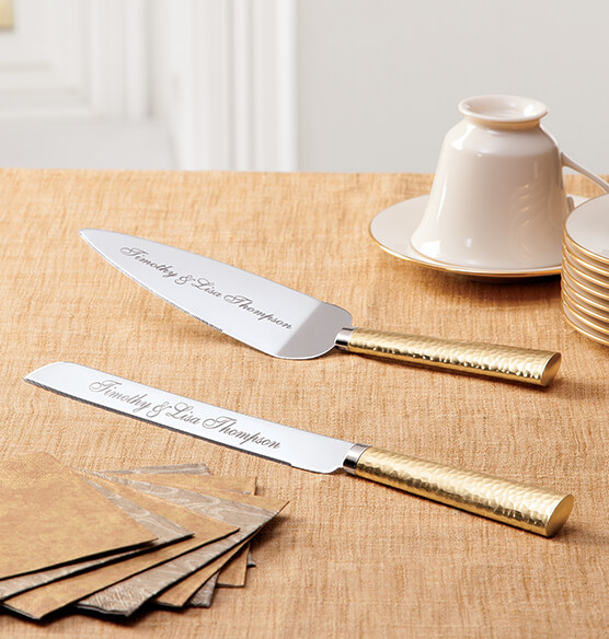 Personalized Brushed Hammered Gold Server Set