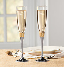 Wedding Essentials - Personalized Brushed Hammered Gold Toasting Flute Set