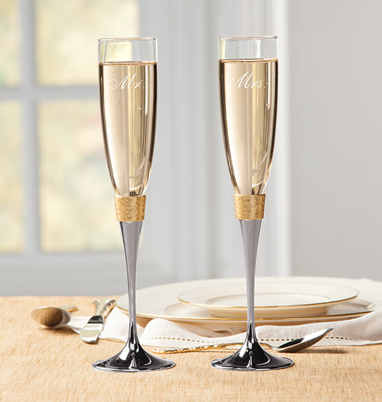 Personalized Brushed Hammered Gold Toasting Flute Set