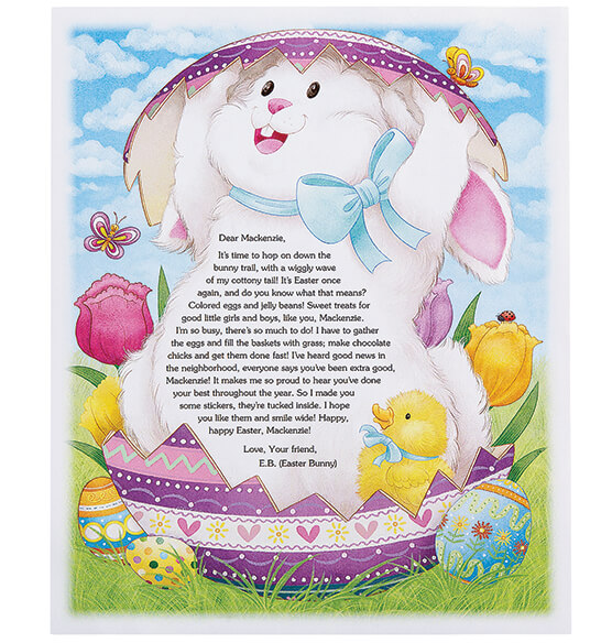 Personalized Easter Bunny Letter and Stickers