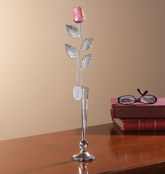 Personalized Silver Plated Pink Rose
